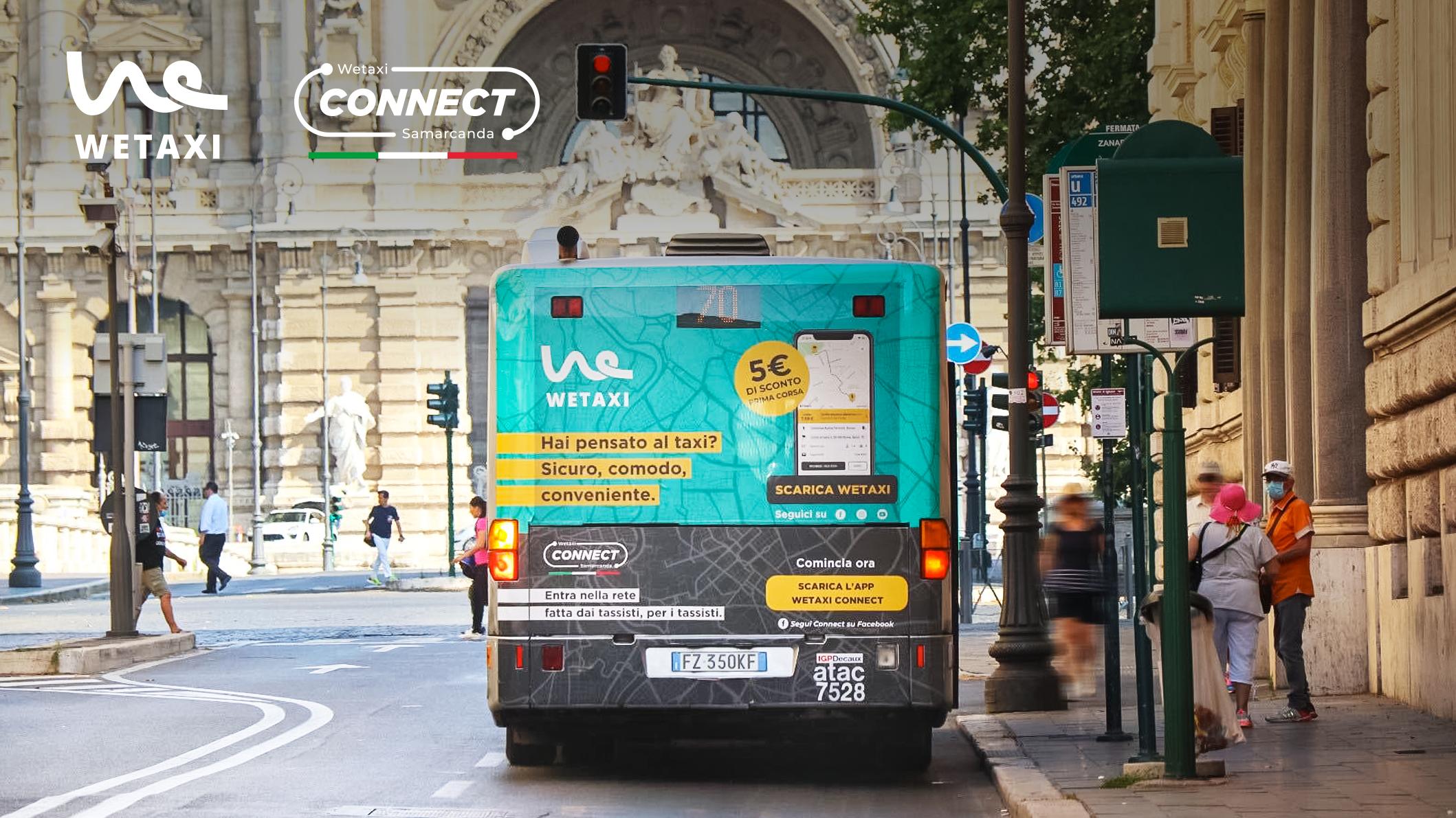 A Roma i taxi viaggiano in autobus con la campagna dedicata a Connect e a Wetaxi